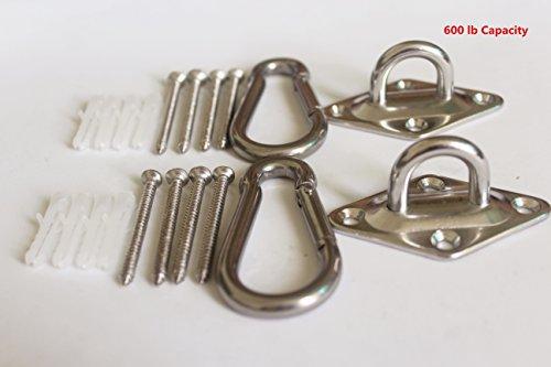 600 lb Capacity Premium Hammock Hooks Best Hanging Kit for Indoor relaxation Set of Ceiling Hook Hanger, Spring Snap Hooks and Screws Durable Hammock Hooks Carabiners For Hammocks (Outdoor Set Hammock)