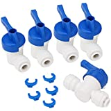"BQLZR Equal Straight OD Tube Ball Valve Quick Connect Fitting 1/4"" RO Water System Pack of 5"