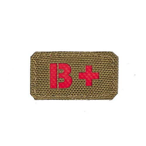 M-Tac B Positive B+ Blood Type Patch Military Tactical Morale (Coyote - Red)