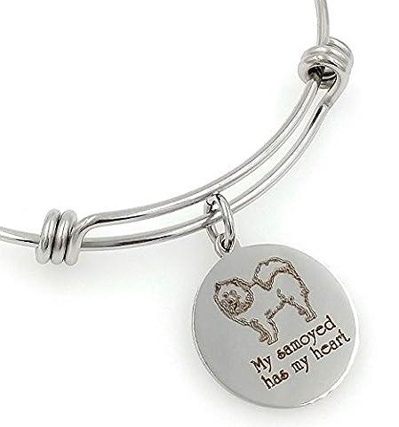 My Samoyed Has My Heart Engraved Expandable Bangle Bracelet - Samoyed Jewelry