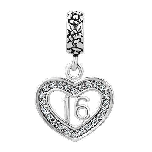 LuckyJewelry Rhinestone Sweet 16 Birthday Dangle Heart Charms Bead fit Pandora Style Bracelet (Sweet 16 Birthdays)