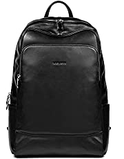 BOSTANTEN Leather Backpack School Laptop Travel Camping Computer Shoulder Bag Sports Backpacks for Men Black