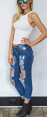 Casual Normale Giovane Vita Donna Holes Elastici Collant A Jane Stretch Color2 Pantaloni Cher Jeans Denim Alta 7q8xvwOO