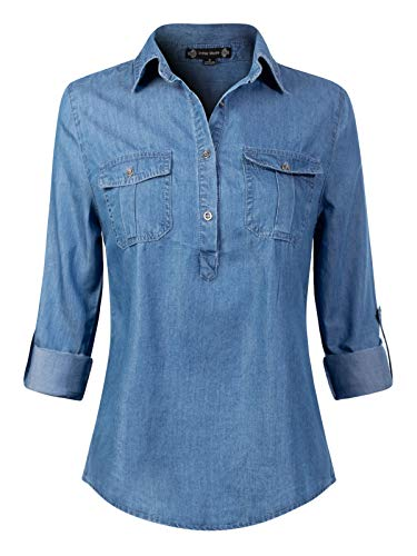 Design by Olivia Women's Button Down Roll Up Long Sleeve Denim Chambray Medium Denim L