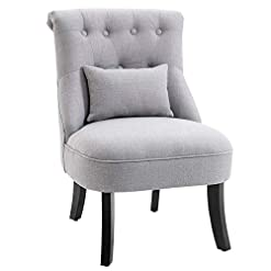 Farmhouse Accent Chairs HOMCOM Small Button-Tufted Accent Chair with Upholstered Fabric, Solid Wood Legs, and Support Pillow, Grey farmhouse accent chairs