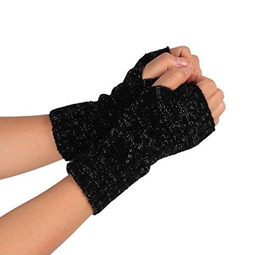 PASATO Knitted Arm Fingerless Winter Gloves Soft Warm Mitten Half Fingerless Thumb Hole Warm Gloves Mittens for Women(Black,Free Size)