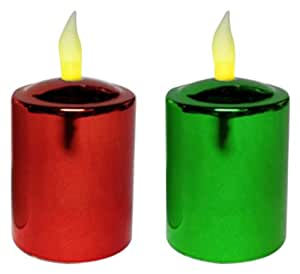 Mr. Light Metallic Votive Candles with Timers, Red/Green, Set of 4