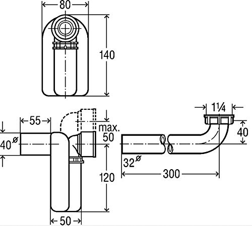x 40 Viega 22547 2 Aufputz-Geruchsverschluss 553128 wei/ß 1 1//4 Zoll