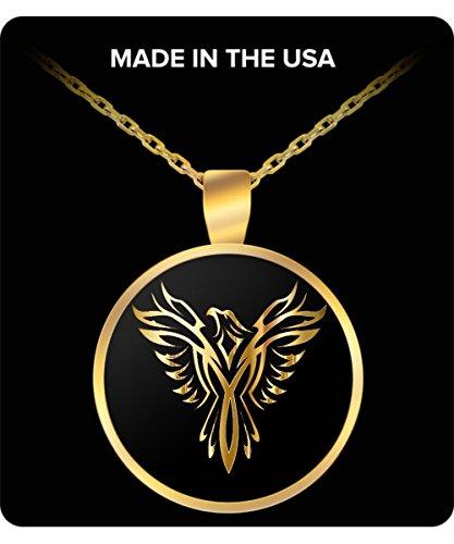 Phoenix Necklace - Gold Chain Pendant - Golden Firebird - For Men and Woman ()