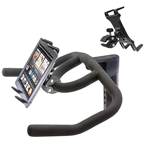 Heavy Duty Clamp Mount w/Universal iPad Pro Tablet Holder for Stationary Bicycle Treadmill Elliptical Indoor Exercise Spin Bike Microphone Stand & Boat Helm (Fits all iPad AIR MINI PRO & -