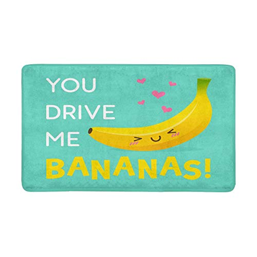 InterestPrint Cute Banana Cartoon You Drive Me Bananas Doormat Non Slip Indoor/Outdoor Floor Door Mat Home Decor, Entrance Rug Rubber Backing Large 30 x 18 Inches
