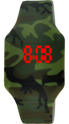 Moulin Boys LED Touch-Activated Camouflage Silicone Watch with Stainless Steel Back #03088.71833