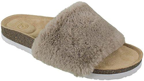 Chinese Laundry Ladies Faux-Fur Fashion Slide Sandal Flip Flop, Tan, Size 8