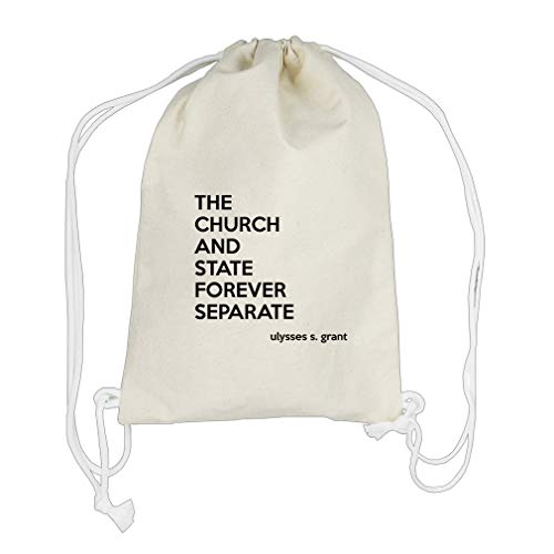 The Church Separate (Ulysses S. Grant) Cotton Canvas Backpack Drawstring Bag by Style in Print