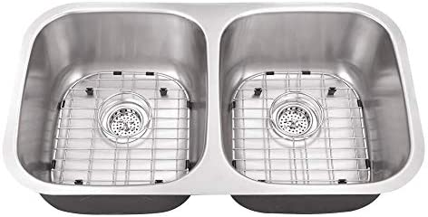 Cahaba CA121132 32-1 4 x 18-1 2 16 Gauge Stainless Steel Double Bowl 50 50 Kitchen Sink with Grid Set and Drain Assemblies