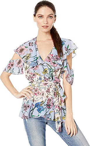Juicy Couture Women's SW Wildflower Print Mix Wrap Top Eggshell/Sweat Cornflower Large -