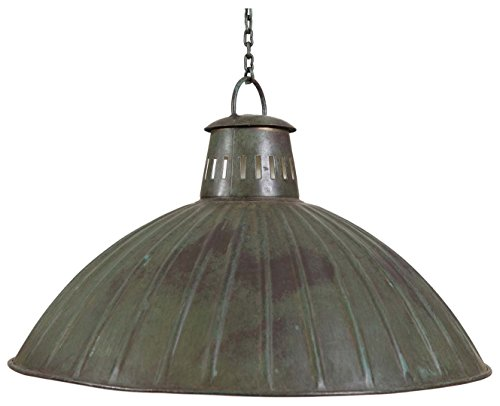 Biscottini Industrial Iron Made Antiqued Green Finish W49xDP49xH31 cm Sized Non Electrified Suspended Chandelier