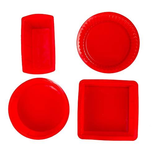 Silicone Baking Cake Pans Kitchen Cookware Kitchen Muffin Pan Cupcakes Circle 8 x 8 Inch Pie Pan (Red (4 Pack) Set)