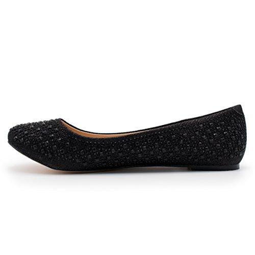 Collezione De Blossom Baba-1 Casual Strass Slip On Balletto Flat Lightweigh Premier Black Sparkle