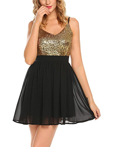 Bust Sequined Chiffon Dress (Dethler Sexy Spaghetti Strap Sequined Gold Chiffon Patchwork Pleated Cocktail Party Dress)