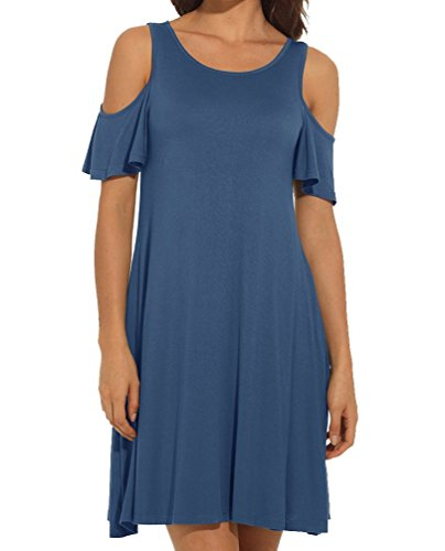 Cold Shoulder with Pockets Casual Swing T-Shirt Dress