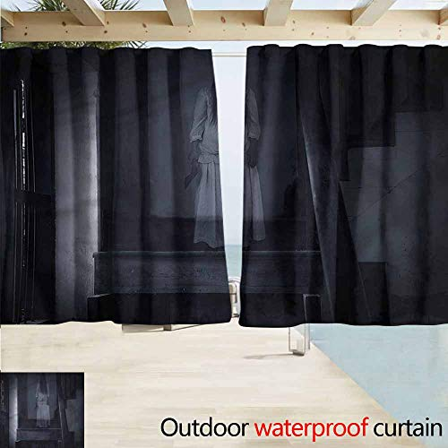 MaryMunger Simple Curtain Halloween Ghost Girl on Stairway Drapes for Outdoor Decor W55x45L Inches]()