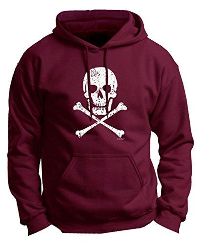 Skull Crossbones Distressed Premium Hoodie Sweatshirt Large Mroon