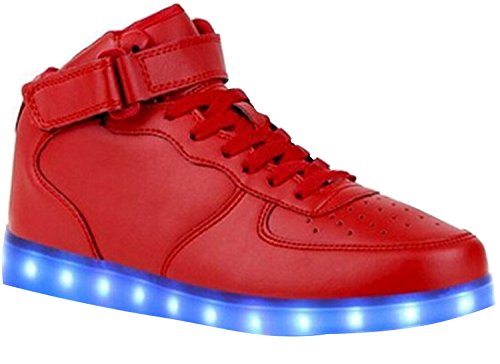 Minetom 7 Colors USB Charging Shoes Flashing Sneakers Led Trainers High Top Light Up Shoes Unisex Men and Women Red