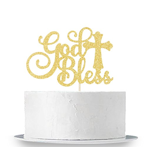 INNORU Gold Glitter God Bless Cake Topper - Communion Party Sign, Baptisim Christening - First Baby Shower Decoration Supplies