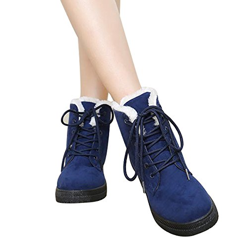 High VFDB Up Boots Top Blue Winter Lace Ankle Sneaker Velvet Boots Snow Platform 68qxw8XrC