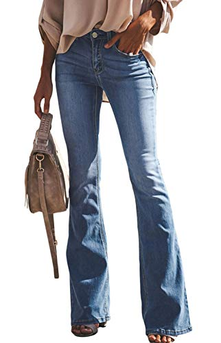 Women's Fashion High Waist Regular Stretch Slim Fit Flared Juniors Bootcut Jeans Light Blue