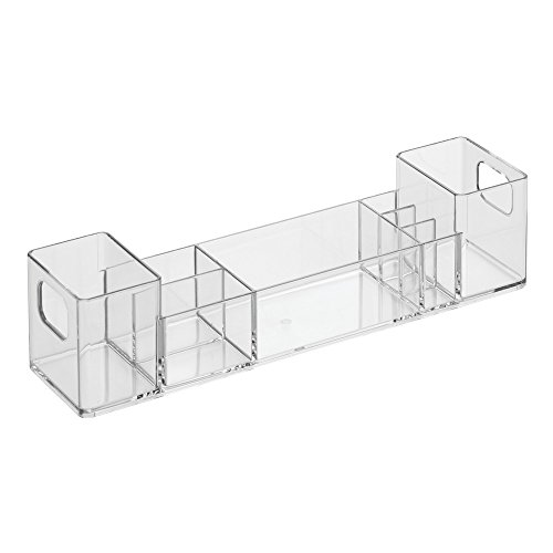 Multi Level Cabinet - InterDesign Med+ - Makeup and Medicine Cabinet Multi-Level Organizer with Buil-In-Handles - Clear - 3 x 12 x 3 inches