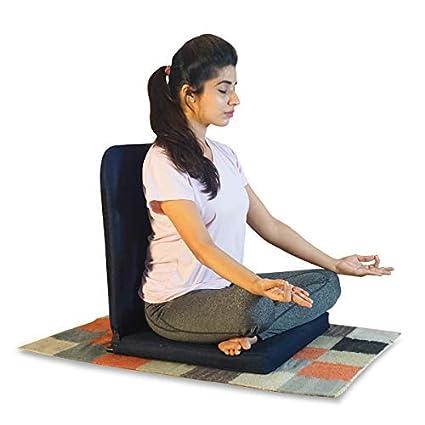 Kawachi Meditation and Yoga Floor Chair with Back Support (Dark Black)