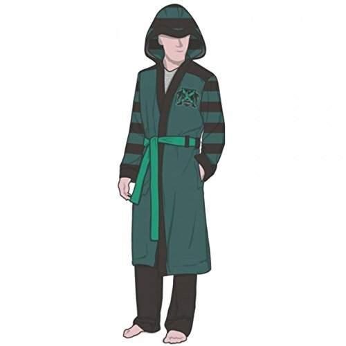 Harry Potter SLYTHERIN House Logo With Crest Fleece BATHROBE With HOOD (Small/Medium) (Hufflepuff Robes)