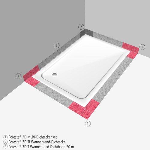 3 St/ück 3D Multi-Dichteckenset f/ür bodenebene Duschwannen