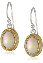 """Anna Beck Designs """"Gili Mother Of Pear"""" Gold Plated Small Oval Drop Earrings"""