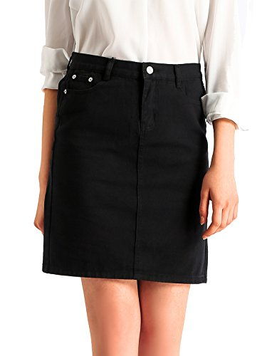 - Beluring Women's High Waisted Denim Pencil Skirts with Stretch Black Size 14