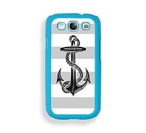 Anchor On Grey Stripes Aqua Plastic Bumper Samsung Galaxy S3 SIII i9300 Case - Fits Samsung Galaxy S3 SIII i9300