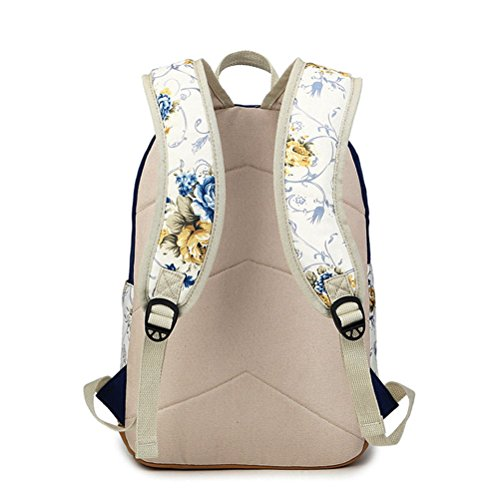d32971e3ecceb Inwagui Mode Damen Mädchen Blumen Rucksack Groß Schultaschen Retro Canvas  Freizeitrucksack Jugendliche Rucksäcke Für Universität ...