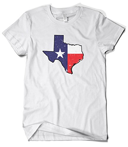 Cybertela Men's Faded Distressed Texas Lone Star State Flag T-Shirt (White, X-Large)