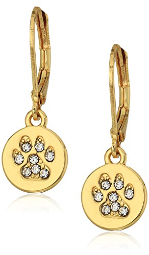 Pet Friends Goldtone/Crystal Pave Paw Leverback Earrings, Gold (Pet Crystals Gold)