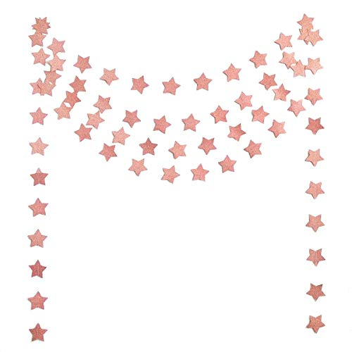 6 Pcs Glitter Rose Gold Star Paper Garland (50 Feet), Bridal Shower Wedding Bachelorette Party Birthday Party Bunting Banner Hanging Decorations Sparkling Daily Indoor or Outdoor Decorative Supplies
