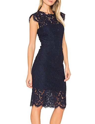 MEROKEETY Women's Sleeveless Lace Floral Elegant Cocktail Dress Crew Neck Knee Length for Party 2