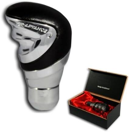 SK814 - Perilla del cambio de engranaje, Pomo coche engranaje perilla de palanca de cambios palo Gea Aluminio con cubierta de cuero genuino Tipo Exclusive-Line: Amazon.es: Coche y moto