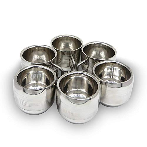 (WhopperIndia Coffee Cup Espresso Cup Mug Set of 6 Double Wall Stainless Steel Tea Cups, Reusable & Stackable Dishwasher Safe)