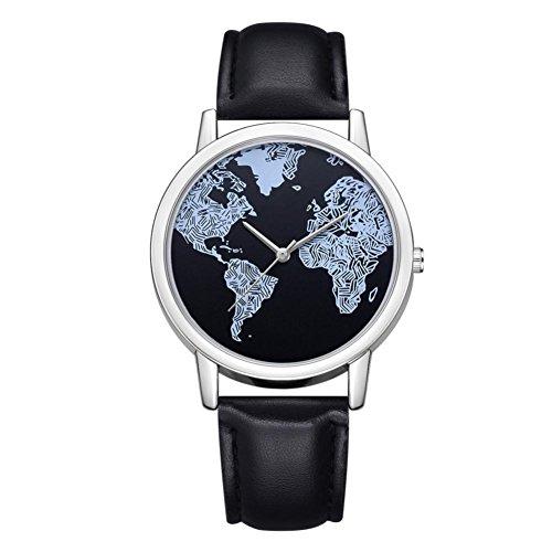 BEUU 2018 World Map Leather Strap Watch New Wholesale Price Luxury Fashion Band Analog Quartz Round Wrist Watches Watch Wristwatch Fashion Watches (B)