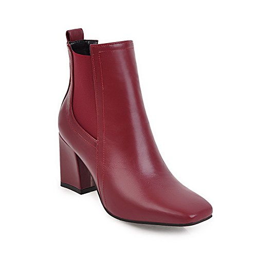BalaMasa Womens Solid Square-Toe Chunky Heels Urethane Boots ABL10662 Red