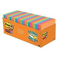Notas adhesivas súper post-it, colores de Río de Janeiro, 2 veces el poder de pegado, paquete grande, reciclable, 3 pulgadas x 3 pulgadas, 24 almohadillas /paquete, (654-24SSAU-CP)