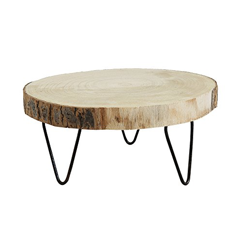 Creative Co-Op DA7522 Paulownia Wood Pedestal with Metal Legs, 9 Inch, Natural Color (Wood Display Stand)