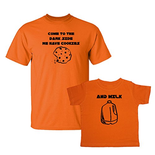 We Match! Come to The Dark Side We Have Cookies & Milk Matching Adult T-Shirt & Child T-Shirt Set (2T T-Shirt, Adult T-Shirt Medium, Orange) ()